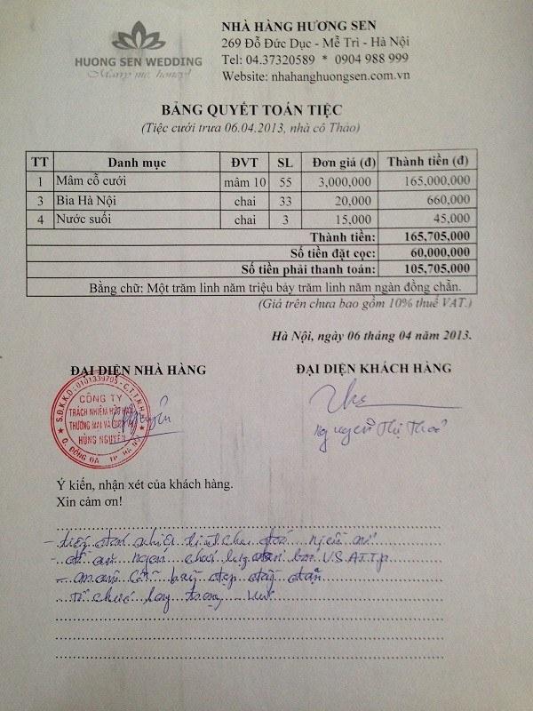 Cả nhận của co Thảo sau khi tổ chức tiệc cưới cho con tại Hương Sen