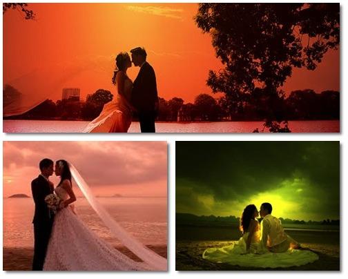 ảnh cưới lúc hoàng hôn