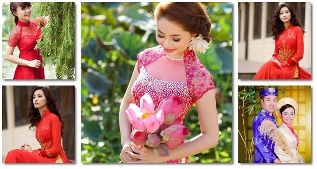 áo dài cưới - Hương Sen