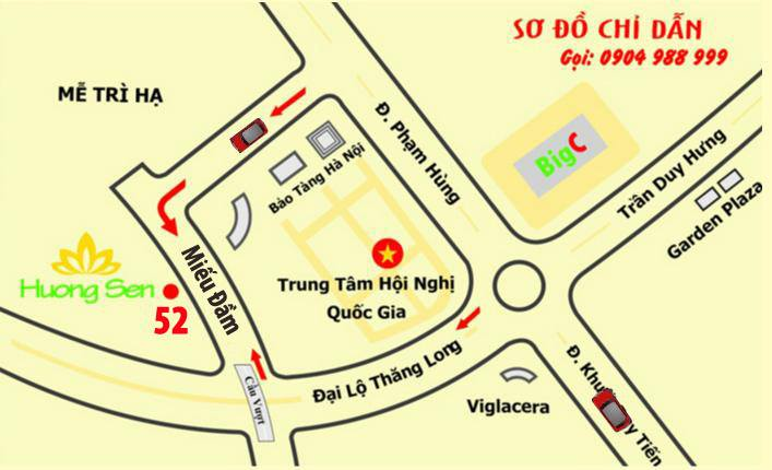 Sơ đồ đường đi đến nhà hàng Hương Sen