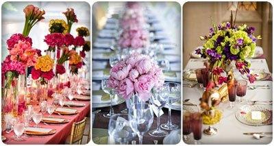 trang trí bàn tiệc cưới dài