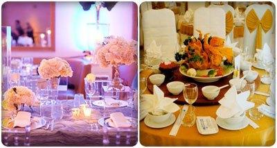 trang trí bàn tiệc cưới ấn tượng