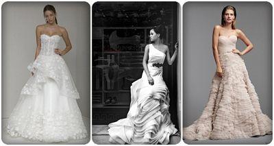 váy cưới xếp tầng