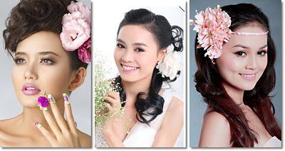 cài hoa lên tóc