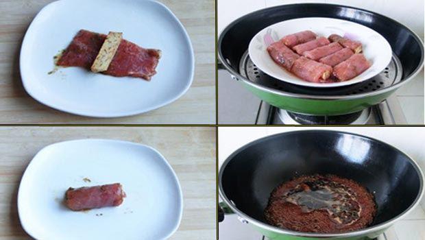 thịt cuộn khoai môn
